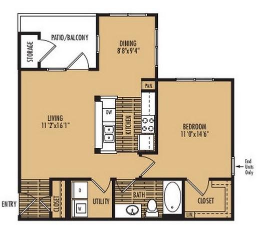 1 bedroom apartment floor plan, Austin