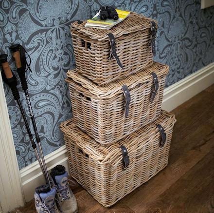 stacked baskets storage
